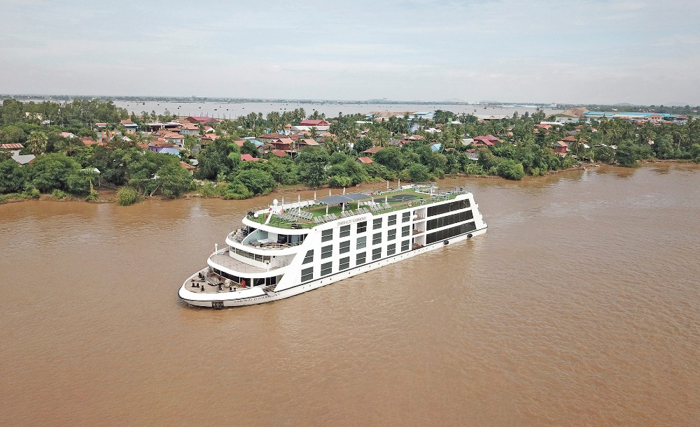 Aerial View of Emerald Harmony Cruise Ship on a River, Emerald Cruise Ship